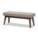 Baxton Studio Elia Mid-Century Modern Walnut Wood Light Grey Fabric Button-Tufted Bench