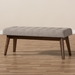 Baxton Studio Elia Mid-Century Modern Walnut Wood Light Grey Fabric Button-Tufted Bench - IEWM1622-BE-Light Grey/Walnut