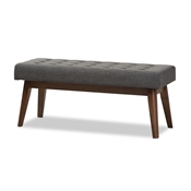 Baxton Studio Elia Mid-Century Modern Walnut Wood Dark Grey Fabric Button-Tufted Bench