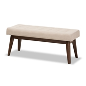 Baxton Studio Elia Mid-Century Modern Walnut Wood Light Beige Fabric Button-Tufted Bench