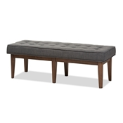 Baxton Studio Lucca Mid-Century Modern Walnut Wood Dark Grey Fabric Button-Tufted Bench