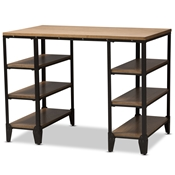 Baxton Studio Pepe Rustic Industrial Metal and Distressed Wood Storage Desk Baxton Studio restaurant furniture, hotel furniture, commercial furniture, wholesale home office furniture, wholesale desk, classic desk