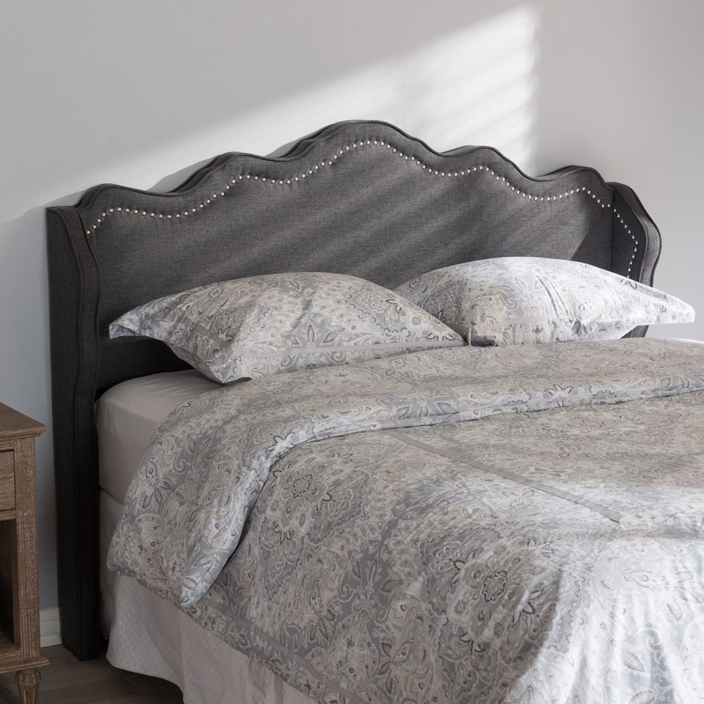 baxton studio nadeen modern and contemporary dark grey fabric king size winged headboard. Black Bedroom Furniture Sets. Home Design Ideas