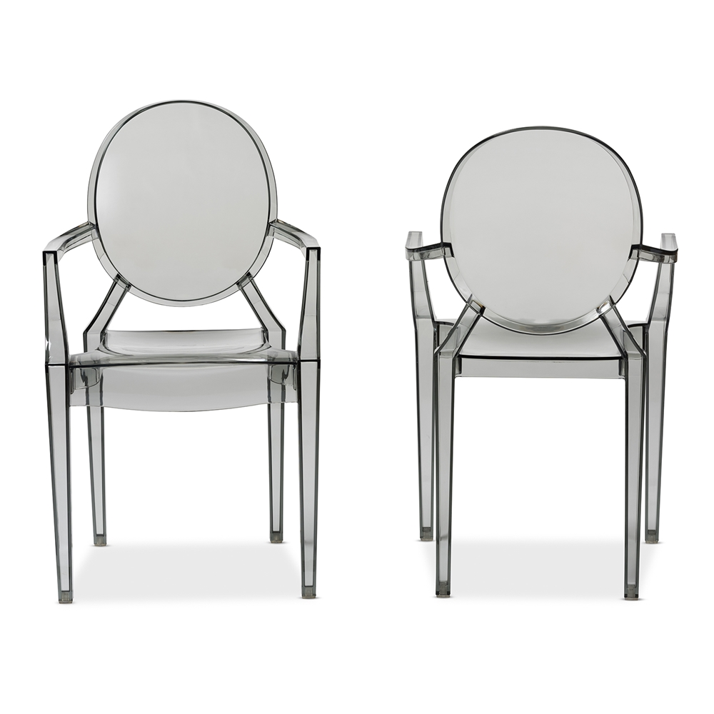 Baxton Studio Dymas Modern Smoke Acrylic Armed Ghost Chair Set Of 2 Iepc