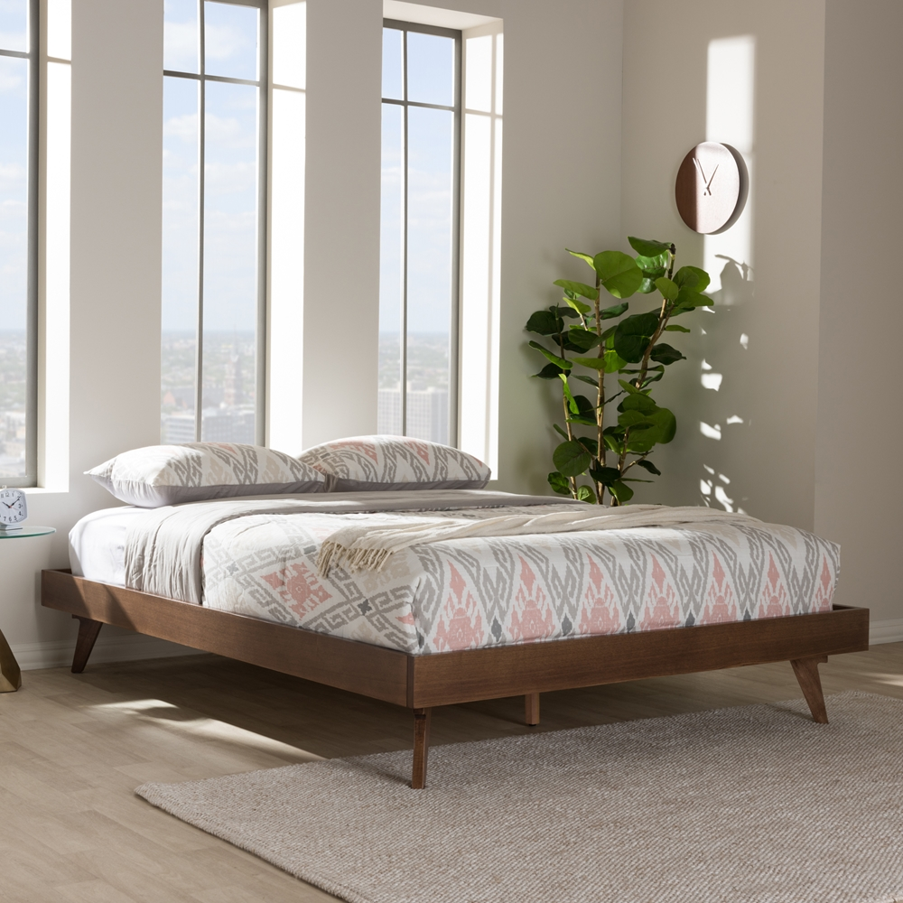 Baxton Studio Jacob Mid Century Modern Walnut Brown Finished Solid Wood Full Size Bed Frame