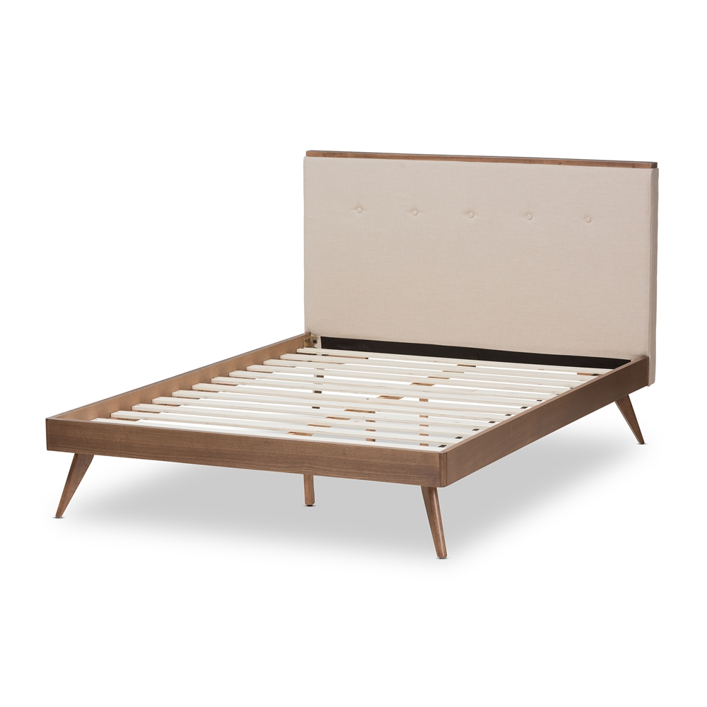Baxton studio bella mid century modern light beige fabric and walnut brown finished wood king - Light wood platform bed ...