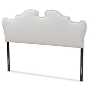 Baxton Studio Dalton Modern and Contemporary Greyish Beige Fabric King Size Headboard Baxton Studio restaurant furniture, hotel furniture, commercial furniture, wholesale bedroom furniture, wholesale headboards, classic king headboards