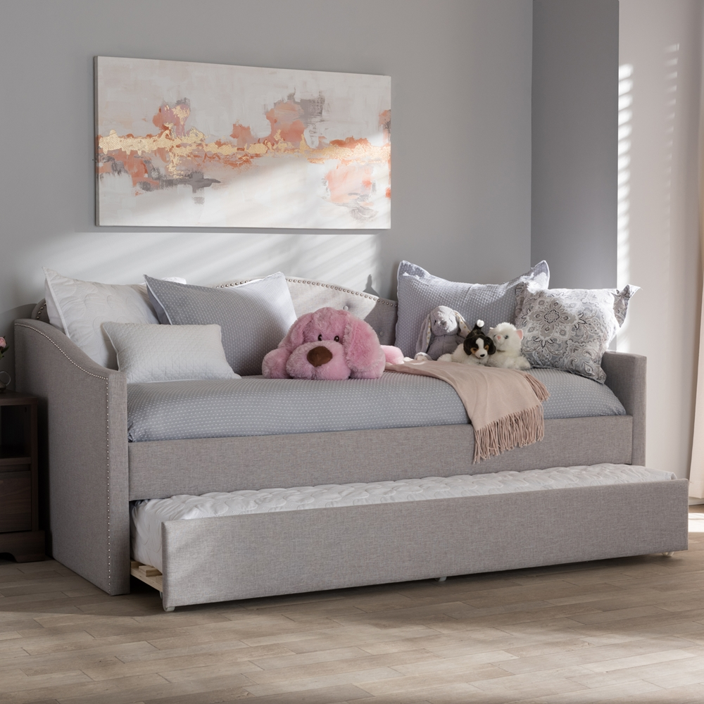 Baxton Studio Kaija Modern And Contemporary Greyish Beige Fabric Daybed With Trundle Iebbt6577