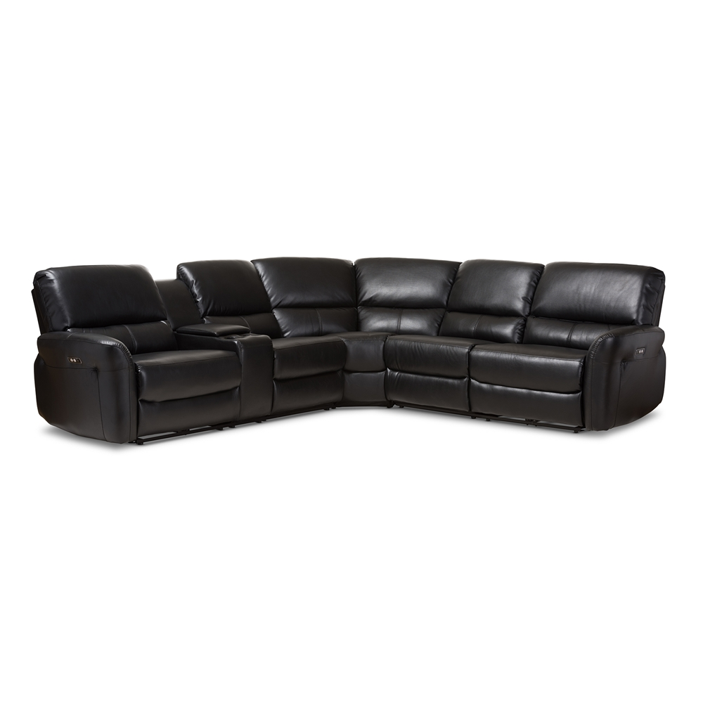 Baxton Studio Amaris Modern And Contemporary Black Bonded Leather 5 Piece Reclining Sectional Sofa