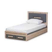 Baxton Studio Pandora Modern and Contemporary Dark Grey and Light Brown Two-Tone 2-Drawer Twin Size Storage Platform Bed