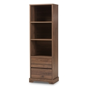 Baxton Studio Burnwood Modern and Contemporary Walnut Brown Finished Wood 2-Drawer Bookcase