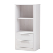 Baxton Studio Carlingford Modern and Contemporary Whitewashed Wood 2-Drawer Bookcase