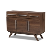 Baxton Studio Ashfield Mid-Century Modern Walnut Brown Finished Wood 3-Drawer Sideboard Baxton Studio restaurant furniture, hotel furniture, commercial furniture, wholesale dining room furniture, wholesale sideboard, classic sideboard