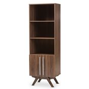 Baxton Studio Ashfield Mid-Century Modern Walnut Brown Finished Wood Bookcase