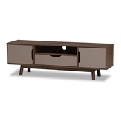 Baxton Studio Britta Mid-Century Modern Walnut Brown and Grey Two-Tone Finished Wood TV Stand Baxton Studio restaurant furniture, hotel furniture, commercial furniture, wholesale living room furniture, wholesale tv stand, classic tv stands
