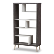 Baxton Studio Atlantic Modern and Contemporary Dark Brown and Light Grey Two-Tone Finished Wood Display Shelf