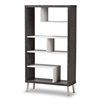 Baxton Studio Atlantic Modern and Contemporary Dark Brown and Light Grey Two-Tone Finished Wood Display Shelf Baxton Studio restaurant furniture, hotel furniture, commercial furniture, wholesale living room furniture, wholesale bookcase, classic bookcases