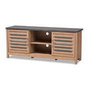 Baxton Studio Pacific Modern and Contemporary Light Brown and Grey Two-Tone Finished 59-Inch TV stand Baxton Studio restaurant furniture, hotel furniture, commercial furniture, wholesale living room furniture, wholesale tv stand, classic tv stands