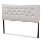 Baxton Studio Windsor Modern and Contemporary Greyish Beige Fabric Upholstered King Size Headboard Baxton Studio restaurant furniture, hotel furniture, commercial furniture, wholesale bedroom furniture, wholesale headboards, classic king headboards