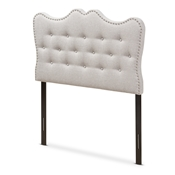 Baxton Studio Emma Modern and Contemporary Greyish Beige Fabric Twin Size Headboard Baxton Studio restaurant furniture, hotel furniture, commercial furniture, wholesale bedroom furniture, wholesale headboards, classic twin headboards