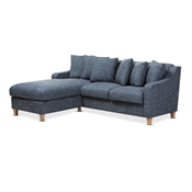 Baxton Studio Winslow Modern and Contemporary Blue Fabric Upholstered 2-Piece Left Facing Sectional Baxton Studio restaurant furniture, hotel furniture, commercial furniture, wholesale living room furniture, wholesale sectional sofa
