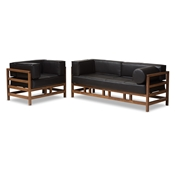 Baxton Studio Shaw Mid-Century Modern Pine Black Faux Leather Walnut Wood 2-Piece Living Room Sofa Set Baxton Studio restaurant furniture, hotel furniture, commercial furniture, wholesale living room furniture, wholesale sofa set, classic sofa sets