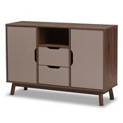 Baxton Studio Britta Mid-Century Modern Walnut Brown and Grey Two-Tone Finished Wood Sideboard Baxton Studio restaurant furniture, hotel furniture, commercial furniture, wholesale dining room furniture, wholesale sideboard, classic sideboard
