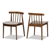 Baxton Studio Wyatt Mid-Century Modern Walnut Wood Dining Chair Set of 2