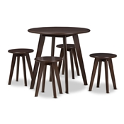Baxton Studio Zula Mid-Century Modern Walnut Wood 5-Piece Dining Set Baxton Studio restaurant furniture, hotel furniture, commercial furniture, wholesale dining room furniture, wholesale dining set, classic dining sets