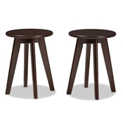 Baxton Studio Zula Mid-Century Modern Walnut Wood Stool Set of 2