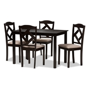 Baxton Studio Ruth Modern and Contemporary Beige Fabric Upholstered and Dark Brown Finished 5-Piece Dining Set Baxton Studio restaurant furniture, hotel furniture, commercial furniture, wholesale dining room furniture, wholesale dining set, classic dining sets