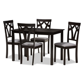 Baxton Studio Sylvia Modern and Contemporary Grey Fabric Upholstered and Dark Brown Finished 5-Piece Dining Set Baxton Studio restaurant furniture, hotel furniture, commercial furniture, wholesale dining room furniture, wholesale dining set, classic dining sets