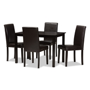 Baxton Studio Mia Modern and Contemporary Dark Brown Faux Leather Upholstered 5-Piece Dining Set Baxton Studio restaurant furniture, hotel furniture, commercial furniture, wholesale dining room furniture, wholesale dining set, classic dining sets