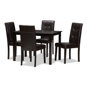 Baxton Studio Avery Modern and Contemporary Dark Brown Faux Leather Upholstered 5-Piece Dining Set Baxton Studio restaurant furniture, hotel furniture, commercial furniture, wholesale dining room furniture, wholesale dining set, classic dining sets