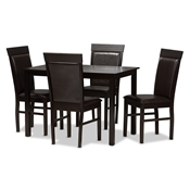 Baxton Studio Thea Modern and Contemporary Dark Brown Faux Leather Upholstered 5-Piece Dining Set Baxton Studio restaurant furniture, hotel furniture, commercial furniture, wholesale dining room furniture, wholesale dining set, classic dining sets