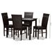 Baxton Studio Thea Modern and Contemporary Dark Brown Faux Leather Upholstered 5-Piece Dining Set - IERH131C-Dark Brown Dining Set