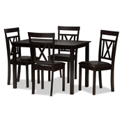Baxton Studio Rosie Modern and Contemporary Dark Brown Faux Leather Upholstered 5-Piece Dining Set Baxton Studio restaurant furniture, hotel furniture, commercial furniture, wholesale dining room furniture, wholesale dining set, classic dining sets
