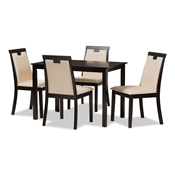 Baxton Studio Evelyn Modern and Contemporary Beige Faux Leather Upholstered and Dark Brown Finished 5-Piece Dining Set Baxton Studio restaurant furniture, hotel furniture, commercial furniture, wholesale dining room furniture, wholesale dining set, classic dining sets