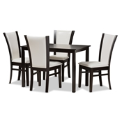 Baxton Studio Adley Modern and Contemporary 5-Piece Dark Brown Finished White Faux Leather Dining Set Baxton Studio restaurant furniture, hotel furniture, commercial furniture, wholesale dining room furniture, wholesale dining set, classic dining sets