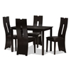 Baxton Studio Alani Modern and Contemporary Dark Brown Faux Leather Upholstered 5-Piece Dining Set Baxton Studio restaurant furniture, hotel furniture, commercial furniture, wholesale dining room furniture, wholesale dining set, classic dining sets