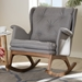 Baxton Studio Maggie Mid-Century Modern Grey Fabric Upholstered Walnut-Finished Rocking Chair - IEBBT5309-Grey-RC