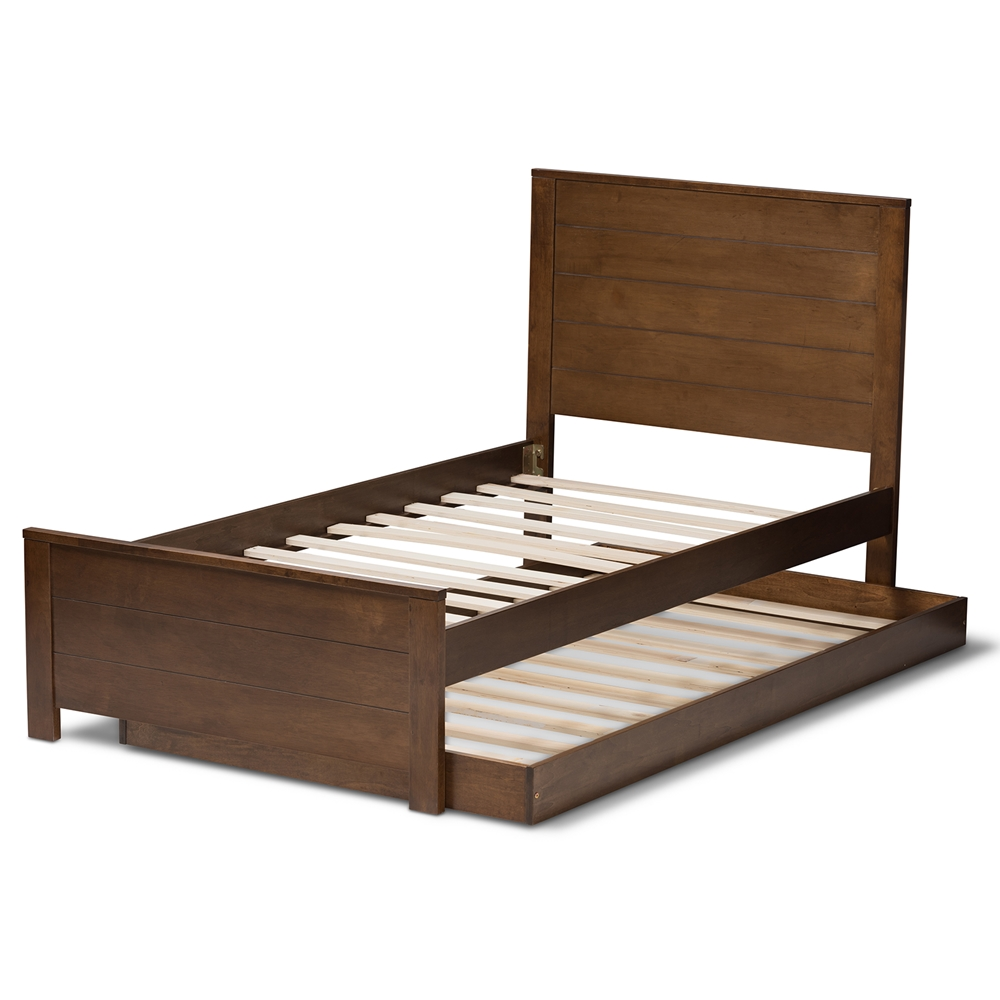 Baxton Studio Catalina Modern Clic Mission Style Brown Finished Wood Twin Platform Bed With Trundle