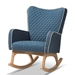 Baxton Studio Zoelle Mid-Century Modern Blue Fabric Upholstered Natural Finished Rocking Chair - IEBBT5305-Blue-RC
