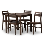 Baxton Studio Lovy Modern and Contemporary Walnut-Finished 5-Piece Dining Set Baxton Studio restaurant furniture, hotel furniture, commercial furniture, wholesale dining room furniture, wholesale dining set, classic dining sets