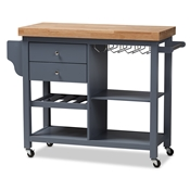 Baxton Studio Sunderland Coastal and Farmhouse Grey Wood Kitchen Cart Baxton Studio restaurant furniture, hotel furniture, commercial furniture, wholesale dining room furniture, wholesale kitchen carts, classic kitchen carts
