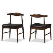 Baxton Studio Winton Mid-Century Modern Walnut Wood Dining Chair Set of 2