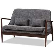 Baxton Studio Carter Mid-Century Modern Walnut Wood Grey Fabric Upholstered 2-seater Loveseat Baxton Studio restaurant furniture, hotel furniture, commercial furniture, wholesale living room furniture, wholesale sofas and loveseats, classic loveseats