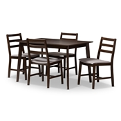 Baxton Studio Nadine Modern and Contemporary Walnut-Finished Light Grey Fabric Upholstered 5-Piece Dining Set Baxton Studio restaurant furniture, hotel furniture, commercial furniture, wholesale dining room furniture, wholesale dining set, classic dining sets