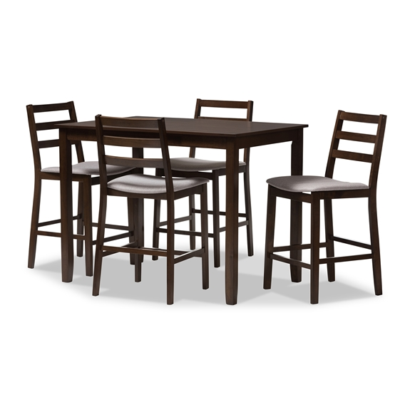Baxton Studio Nadine Modern and Contemporary Walnut-Finished Light Grey Fabric Upholstered 5-Piece Pub Set