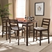 Baxton Studio Nadine Modern and Contemporary Walnut-Finished Light Grey Fabric Upholstered 5-Piece Pub Set - IELWMP12805S53/LWP99-Walnut/LightGrey-5PC-Pub Set